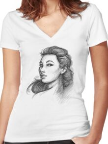 Beautiful Woman Artist Pencil Sketch 1 Women's Fitted V-Neck T-Shirt
