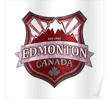 Edmonton Canada red grunge shield Poster