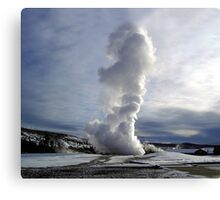 Old faithful in Winter - Yellowstone National Park Canvas Print