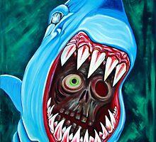 """Great White Gobstopper"" - Shark VS Zombie by Laura Barbosa"