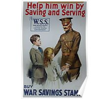 Help him win by saving and serving Buy War Savings Stamps 002 2 Poster