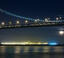 Full Moon Rising Under San Francisco Bay Bridge by Svetlana Day