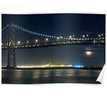 Full Moon Rising Under San Francisco Bay Bridge Poster