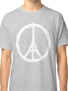 Eiffel Tower Peace Sign White Classic T-Shirt