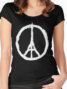 Eiffel Tower Peace Sign White Women's Fitted Scoop T-Shirt
