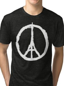 Eiffel Tower Peace Sign White Tri-blend T-Shirt
