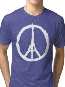 Eiffel Tower Peace Sign White Tri-blend T-Shirt