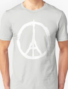 Eiffel Tower Peace Sign White Unisex T-Shirt