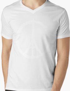 Eiffel Tower Peace Sign White Mens V-Neck T-Shirt