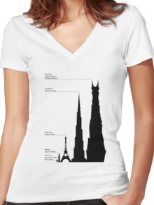 Towering Sauron Women's Fitted V-Neck T-Shirt