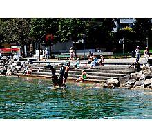 People enjoying the lake Photographic Print