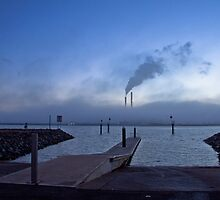 Torrens Island Power Station Smoke Stacks and Fog by pablosvista2