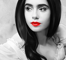 Lily Collins with red lips by MartaDeWinter