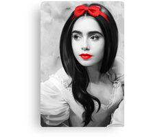 Lily Collins with red lips Canvas Print