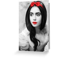 Lily Collins with red lips Greeting Card
