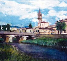Beautiful italian landscape, hand painted by superpixus