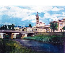 Beautiful italian landscape, hand painted Photographic Print