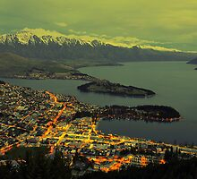 Beautiful Queenstown At Dusk. South Island, New Zealand. by Ralph de Zilva
