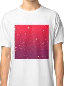 Bright Sparkly Stars Red to Mauve Gradient Classic T-Shirt