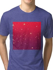 Bright Sparkly Stars Red to Mauve Gradient Tri-blend T-Shirt