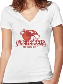 Republic City Fire Ferrets Women's Fitted V-Neck T-Shirt
