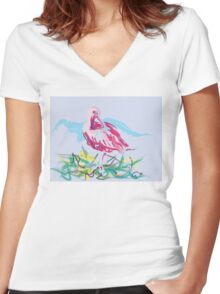 Bird, red ibis Women's Fitted V-Neck T-Shirt