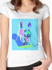 Dog- colour dog Women's Fitted Scoop T-Shirt