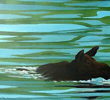 Moose on the Miramichi River by Laura Lea Comeau
