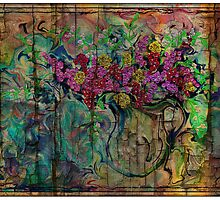 Absolutely Wild Flowers on Cracked and Burnt Wood by suzannem73