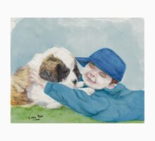 St Bernard Pup Dog Little Boy Art Pet Cathy Peek One Piece - Short Sleeve