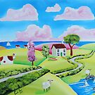 Sheep by the seaside, folk painting by gordonbruce
