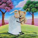 Sheep and a teddy bear friend by gordonbruce