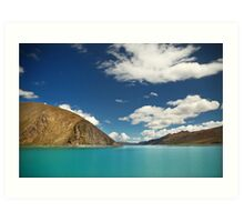 Scenic Tibetan mountains and bright blue water Art Print