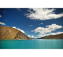 Scenic Tibetan mountains and bright blue water Photographic Print