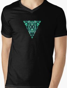 Abstract Surreal Chaos theory in Modern poison turquoise green Mens V-Neck T-Shirt