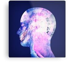 Abstract Space / Universe / Galaxy Face Silhouette  Metal Print