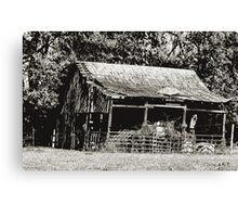 Old Timer's Barn (B&W) Canvas Print
