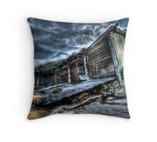 Sandon Point Boat Sheds Throw Pillow
