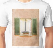 Peach and Green Window in Venice Unisex T-Shirt