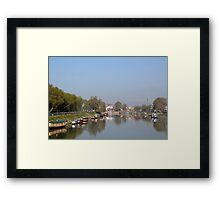 Houseboats on the shore of a canal in Srinagar Framed Print