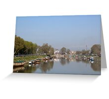 Houseboats on the shore of a canal in Srinagar Greeting Card