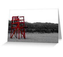 Red Lifeguard Chair Greeting Card