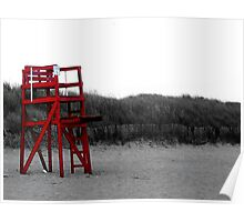 Red Lifeguard Chair Poster