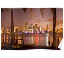 Downtown Miami at night Poster