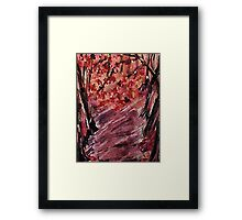 Fall in the woods, watercolor Framed Print