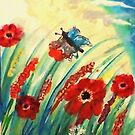 Poppies in the breeze, watercolor by Anna  Lewis