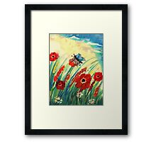 Poppies in the breeze, watercolor Framed Print