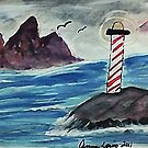 1st lighthouse, revised, watercolor by Anna  Lewis