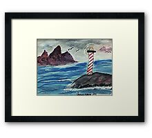 1st lighthouse, revised, watercolor Framed Print