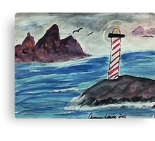 1st lighthouse, revised, watercolor Canvas Print